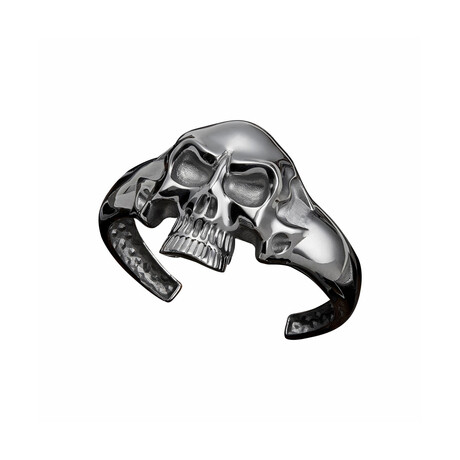 Silver Skull Bracelet // Black (XS)