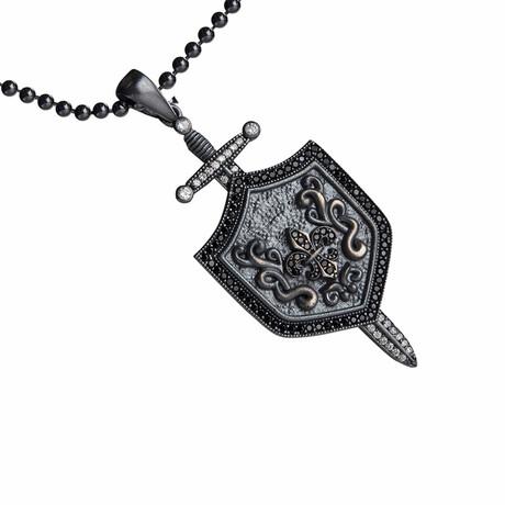 Fleur De Lis Sword Shield Necklace // Black (S)