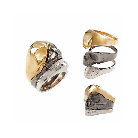 Skull Face Ring // White + Black + Gold (10)