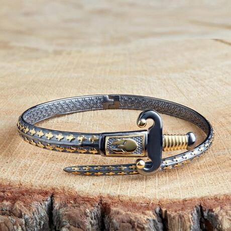 Royal Sword Minimal Bracelet // Black + Gold (XS)