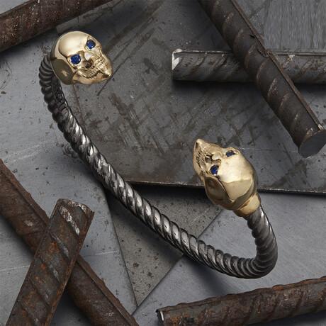 Skull Bracelet // Black + Gold (XS)