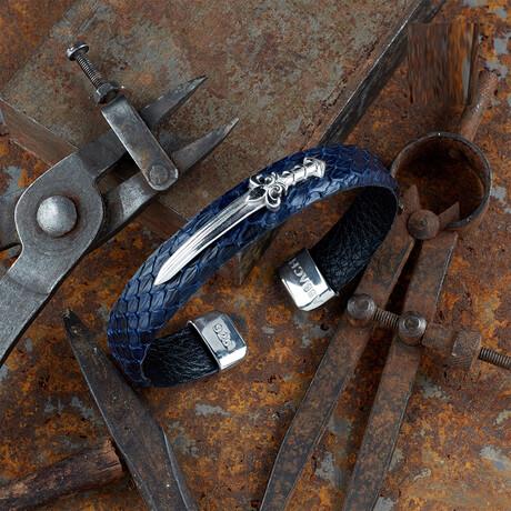 Python Skin Falchion Bracelet // Blue + Silver (XS)