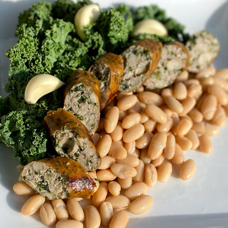 White Bean & Kale + Portabella Bacon Sausage // 4.75 lb // True Blends Sausages + Chicago Sauce Set