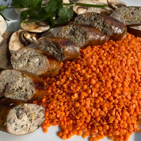 Mushrooms, Letils, & Garlic + Portabella Bacon Sausage // 4.75 lb // True Blends Sausages + Chicago Sauce Set