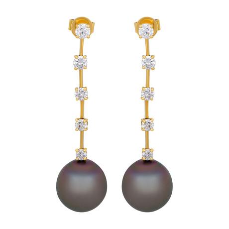 Assael 18k Yellow Gold Diamond + Tahitian Pearl Earrings I // Store Display