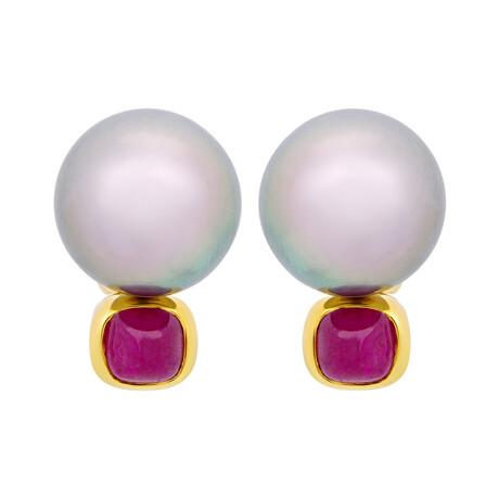 Assael 18k Yellow Gold Ruby + Tahitian Pearl Drop Earrings // Store Display