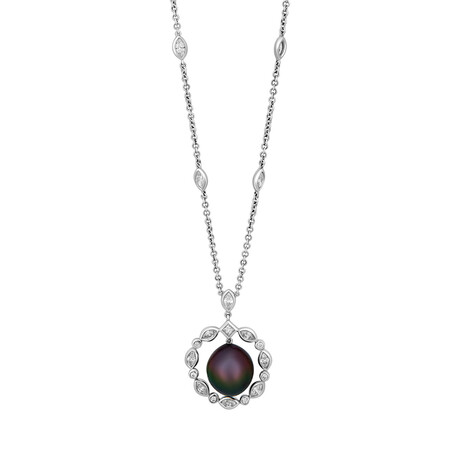 Assael 18k White Gold Diamond +Tahitian Pearl Necklace // Store Display