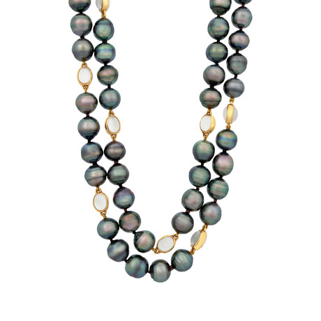 Assael 18k Yellow Gold + Tahitian Pearl Necklace // Store Display