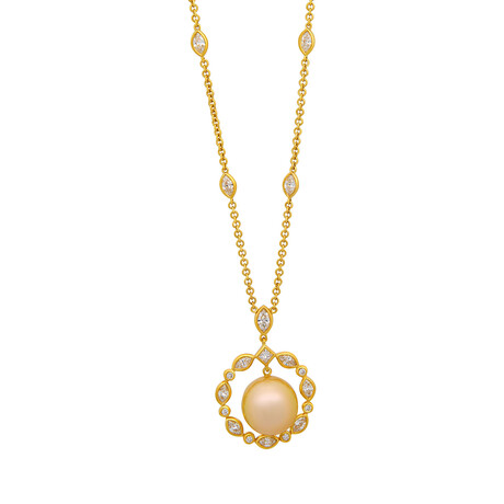 Assael 18k Yellow Gold Diamond + South Sea Pearl Necklace // Store Display