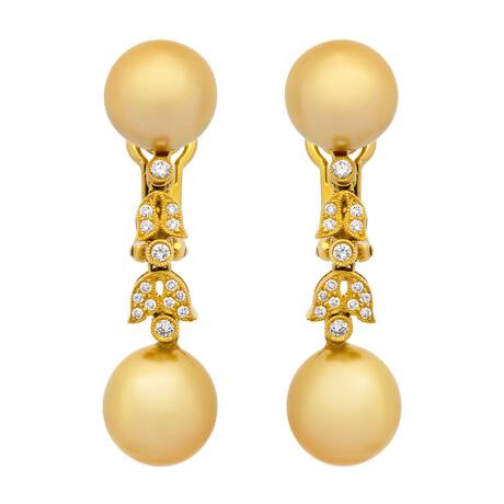 Assael 18k Yellow Gold Diamond + Golden South Sea Pearl Earrings // Store Display