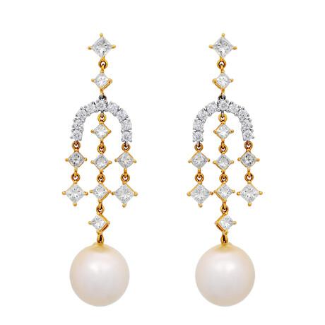 Assael 18k Yellow White Gold Diamond + South Sea Pearl Earrings I // Store Display