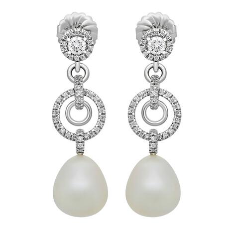 Assael 18k White Gold Diamond + South Sea Pearl Earrings VII // Store Display