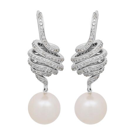 Assael 18k White Gold Diamond + Pearl Earrings // Store Display