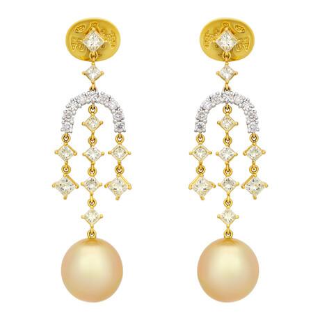 Assael 18k Yellow White Gold Diamond + South Sea Pearl Earrings II // Store Display
