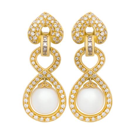 Assael 18k Yellow Gold Diamond + South Sea Pearl Earrings // Store Display