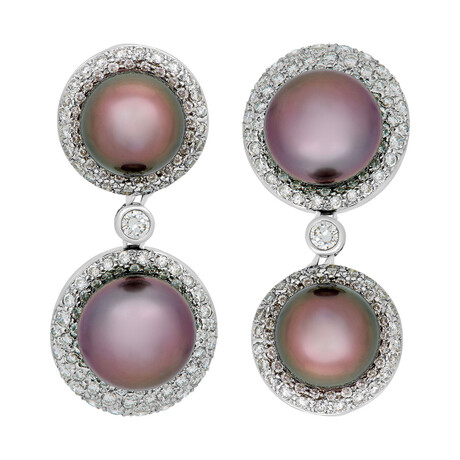Assael 18k White Gold Diamond + Tahitian Pearl Earrings II // Store Display