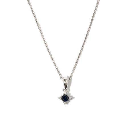 """18k White Gold Sapphire Necklace // 17"""""""