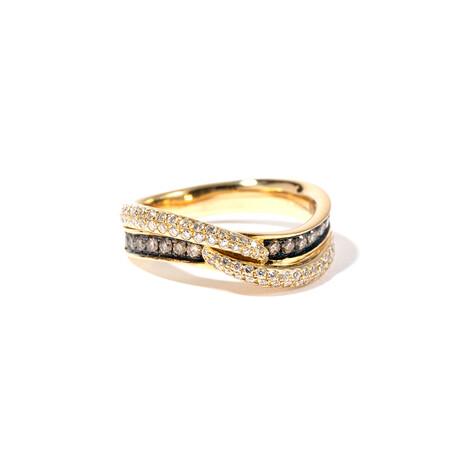 18k Black & Yellow Gold Diamond Ring // Ring Size: 6.5