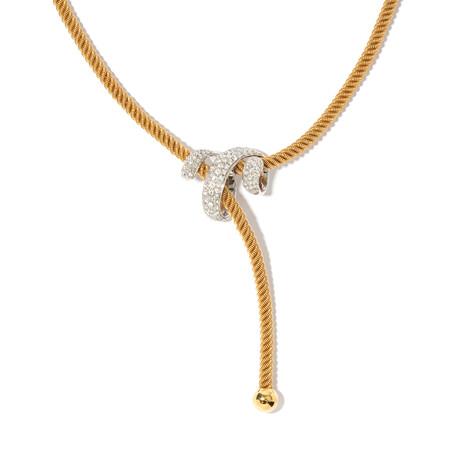 """18k Yellow & White Gold Diamond Necklace // 18"""""""
