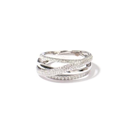 18k White Gold Diamond Ring V (Ring Size: 6)