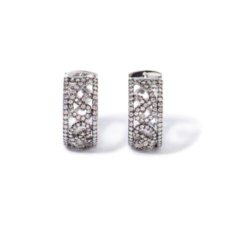 """18k White & Black Gold Diamond Earrings // 0.75"""""""