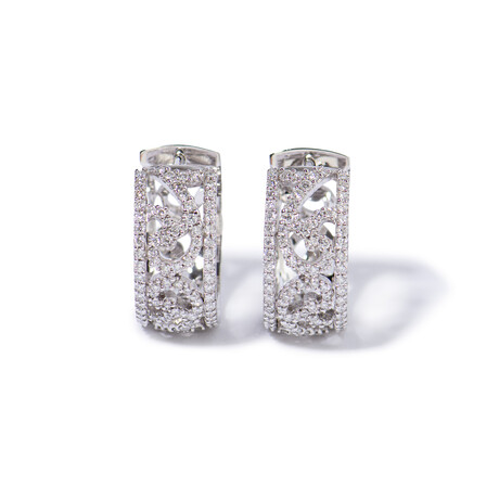 """18k White Gold Diamond Earrings // 0.75"""""""