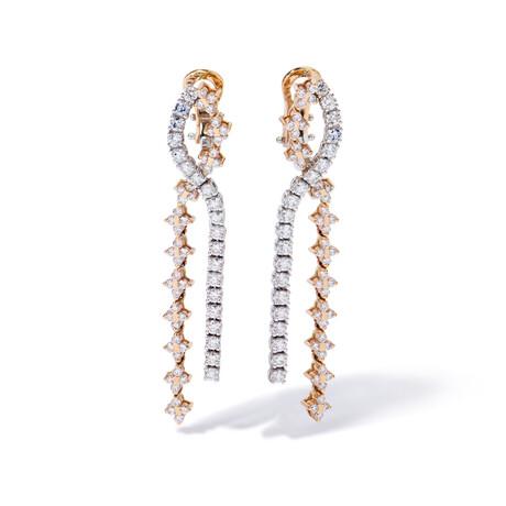 """18k White & Pink Gold Diamond Earrings // 2"""""""