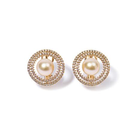 """18k Yellow Gold Pearl Earrings // 1"""""""