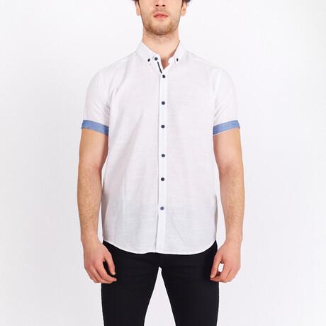 Short Sleeve Button Down Shirt // White + Blue (S)