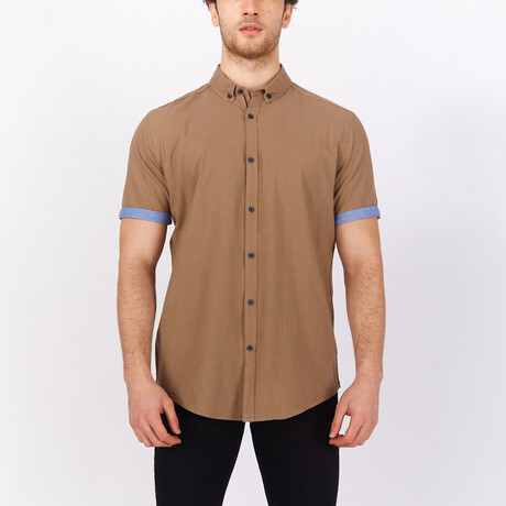 Short Sleeve Button Down Shirt // Earth Color + Blue (S)