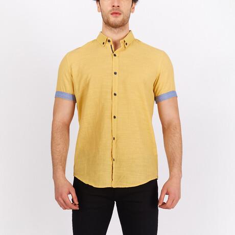 Short Sleeve Button Down Shirt // Yellow + Blue (S)