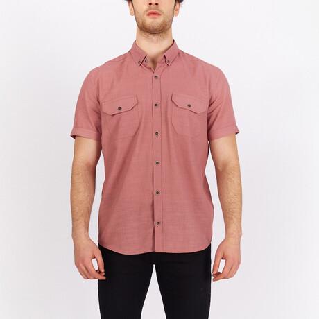 Short Sleeve Button Down Shirt // Violet (S)