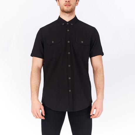 Short Sleeve Button Down Shirt // Black (S)