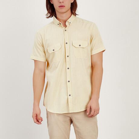 Short Sleeve Button Down Shirt // Yellow (S)