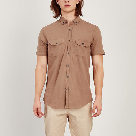 Short Sleeve Button Down Shirt // Earth Color (S)