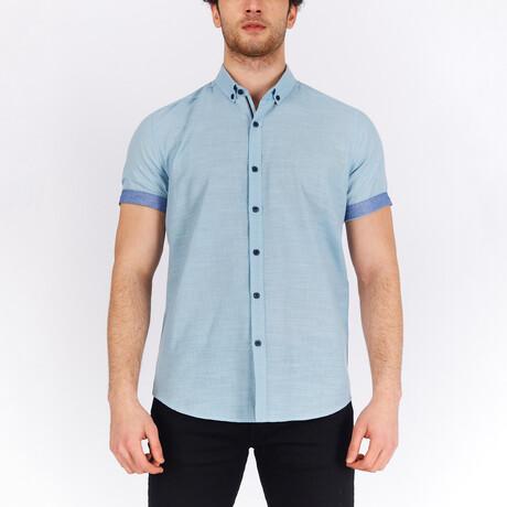 Short Sleeve Button Down Shirt // Aqua (S)