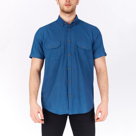 Short Sleeve Button Down Shirt // Indigo (S)