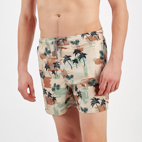 Palm Swim Shorts // Green + Brown (S)