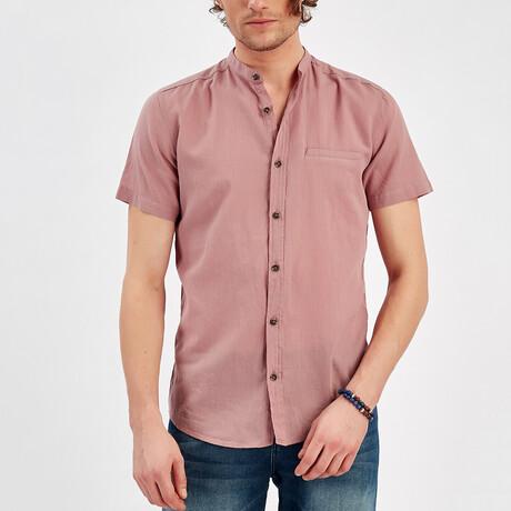 Short Sleeve Button Up Shirt // Violet (S)