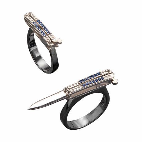 Knife Style Ring // Black + White (10)