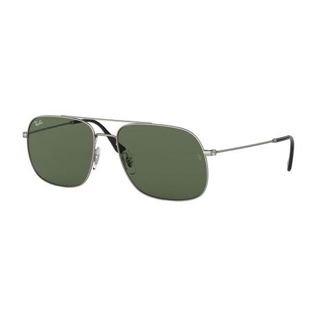 Men's Square Double Bridge Sunglasses // Silver + Green