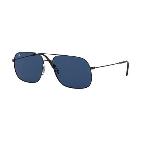 Men's Square Sunglasses // Gold + Light Blue