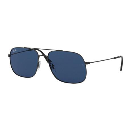 Men's Square Sunglasses // Black + Blue