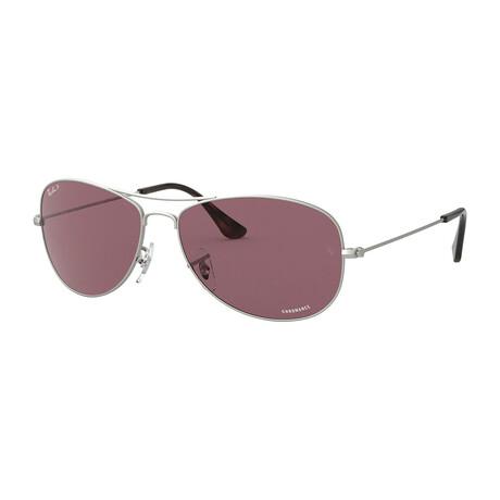 Men's Aviator Sunglasses // Silver + Purple