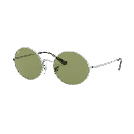 Men's Round Sunglasses // Silver + Light Green