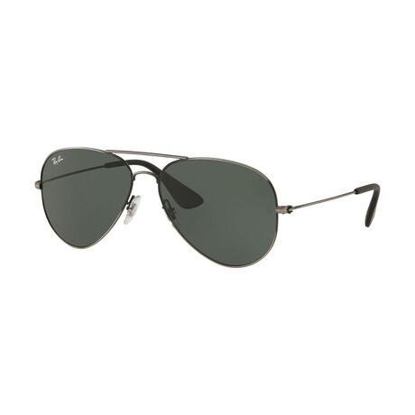 Men's Aviator Sunglasses // Antique Black + Green