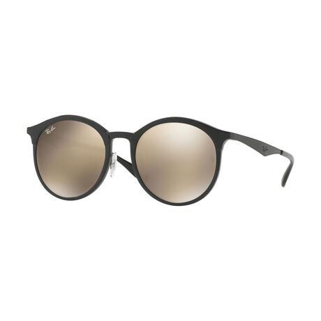 Men's Round Sunglasses // Black + Gold Mirror