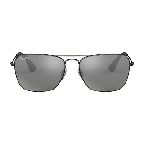 Men's Square Double Bridge Sunglasses // Matte Black + Gray Mirror
