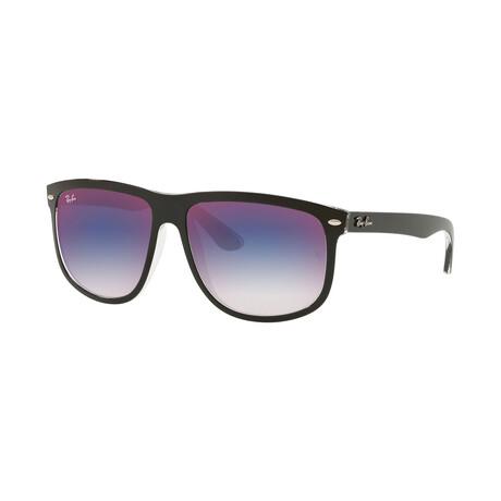 Men's Square Sunglasses // Black + Blue Red Gradient