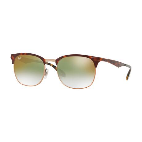 Men's Square Sunglasses // Copper Havana + Green + Red Gradient Mirror